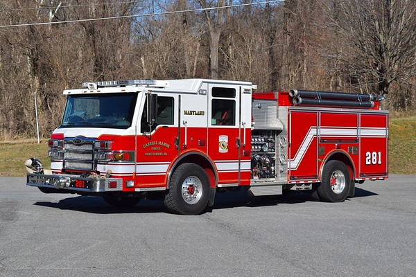 Engine 281 is a 2009 Pierce Velocity, 1500/1000, sn- 21949.  ex - Engine 162 from Woodsboro in Frederick County.