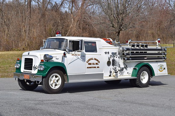 A unique antique still operated by Carroll Manor, photographed in 2/2020.  Old Engine 1 (later Engine 142) is a 3-door 1961 International BC 180/American Fire Apparatus, equipped with 750/500 and carrying serial number 2358-2-61.  Engine 1 was rehabbed in 1985 by Mt. Etna Body Works and in 1993 by A1 Truck Painting..  This was Carroll Manor's first newly purchased engine.