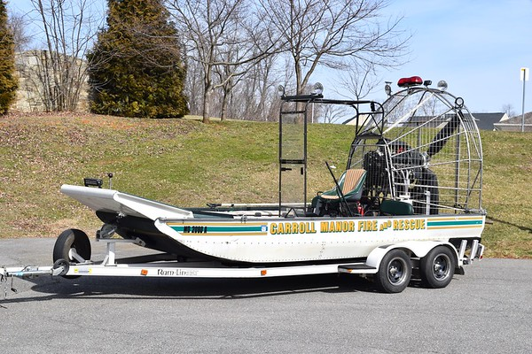 Airboat 28, purchased used by the DC Harbor Patrol.  Used regionally as a smoke ejector, this apparatus has traveled as far as Winchester, VA, for mutual aide calls.