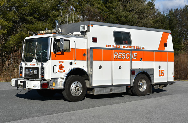 New Market purchased this 1987 Mack MC686FC/Saulsbury in 2019 from the Charlottesville-Albemarle Rescue Squad (CARS) in Virginia.  While at CARS, it ran as Squad 133.  It is used to back up New Market's Squad 15 and as a support unit.  Its designation at New Market is Support 15.