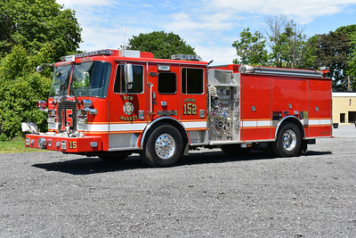 Engine 152 from New Market is this 2014 KME Predator Severe Service engine equipped with a 1500/750 and KME number GSO 9581.