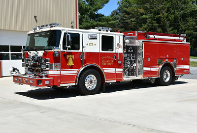 Engine 172 from Libertytown, Maryland in Frederick County is this 2016 Pierce Enforcer 1500/1000 and job number 29717.  Note the Maryland state flag emblem in the front grille.