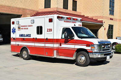 Ambulance 239 assigned to Urbana, Maryland caught leaving the station in August of 2017.  A 2016 Ford E450/2017 Horton with an older 2006 Medtec box.