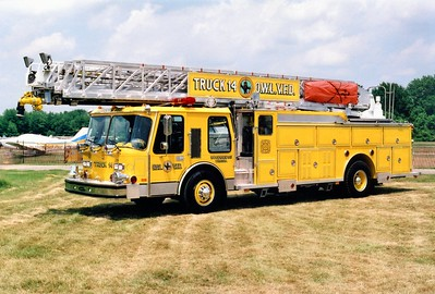Former Truck 14 was this nice 1986 E-One Hurricane, 110'.  Sold to Urbana, Maryland.