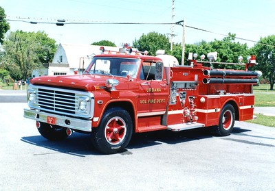 Former Engine 232 was a 1972 Ford F/Ward LaFrance, 750/500.  Urbana's first firetruck, received in 1976.  ex - Honeywell Corporation, New Jersey.  Sold to Penn Township, Pennsylvania (Cumberland County).