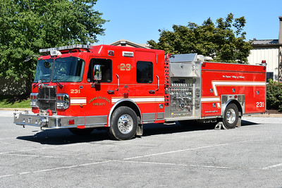 Engine 231 from Urbana, Maryland is a 2010 Spartan Gladiator/Rosenbauer with a 1500/750/20 and production number G3059.