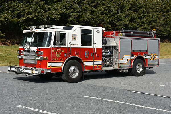 United Fire Company (Frederick, Maryland) Engine 33 is a 2006 Pierce Dash with a 1500/1000 and Pierce job number 18475.  It previously ran as Engine 331 in Frederick County.
