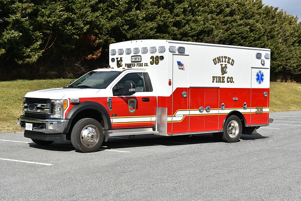 """""""38"""" from United Fire Company in Frederick, Maryland is a 2017 Ford F550/2018 Braun.  It carries Braun serial number 7473."""