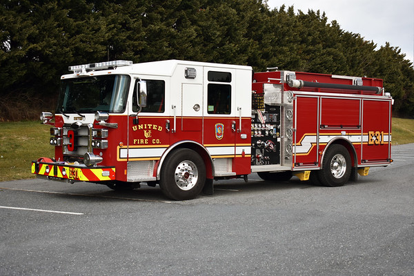 Engine 31 from United is a 2019 Pierce Enforcer 1500/750 with Pierce job number 33287.  Photographed February of 2020.