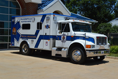 """Walkersville's """"Special Operations"""" unit is Ambulance 246.  It is a 1995 International N4700/Horton that previously ran as Ambulance 248.  In 2015, the department decided that instead of retiring the ambulance, they would convert it to a bariatric unit, used to transport obese patients.  It is used throughout Frederick County when such a need arises.  2015 work on the ambulance included extensive work by department members, PL Custom modified some of the interior as well as miscellaneous work (i.e. addition of a winch), and a new paint job was provided by Damascus Motors and lettering/graphics by Shannon-Baum Signs."""