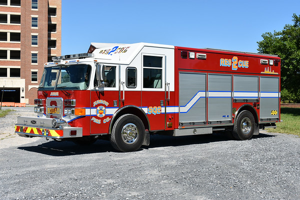 Squad 2 from the Junior FC in Frederick, Maryland is this 2004 Pierce Enforcer with Pierce job number 15349.  Non-walk in rescue body.  Squad 2 is cross staffed by the engine company.
