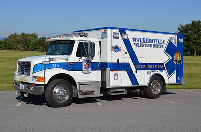 "Walkersville Rescue Squad ""246"", a 1995 International 4700/Horton that was modified in 2015 by both the rescue squad members and PL Custom to operate as a Bariatric Unit (heavy/large patients).  It was originally Ambulance 248 for Walkersville VRS."