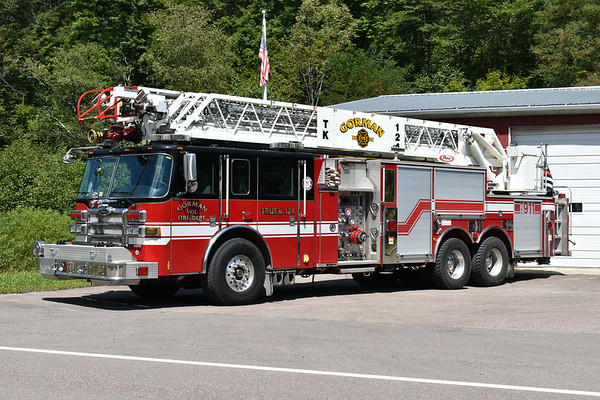 Truck 124 from Gorman, Maryland is this 2007 Pierce Dash 105' rearmount with a 1500/300.  Pierce job number 19125-01.  This truck was originally delivered to Virginia Beach, VA where it ran as Ladder 1, 16, and Reserve.  Note that just under the driver side headlight is the VA Beach shop number still on the truck (146976).