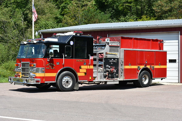 Engine 122 from Gorman is this 1998 Pierce Dash 1500/1000 and job number EB853.  Originally delivered to the Concord Fire Prot. District in Paducah, Kentucky in McCracken County.