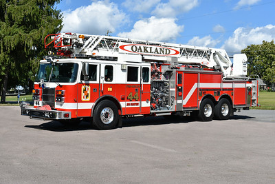 Truck 44 from Oakland, Maryland, as photographed in late August of 2019.  2000 Pierce Lance  105'  1500/500.  Originally delivered to the Lawnton Fire Company in Dauphin County, PA.  Pierce job number 11444.  Oakland received this truck in 2017.