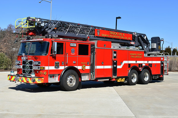 Truck 6 from Savage, Maryland in Howard County.  A 2017 Pierce Arrow XT with a 105'.  Pierce job number 29708.   Parts from Savage's old Truck 6, a 2002 Pierce  Dash, were used to build the new Truck 6 (including ladder and body).