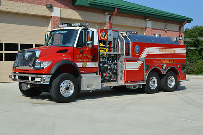 Several tankers at FS 3.  Tanker 3 is a 2005 International 7600/Pierce, 1250/3000, sn- 16837.