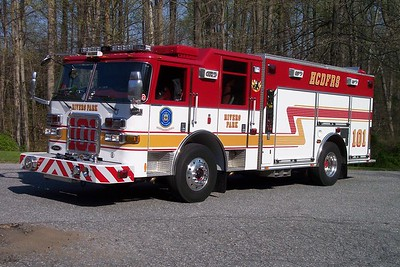 Former Engine 101 (now reserve engine 182) is this 2004 Pierce Enforcer, 1250/730/30.