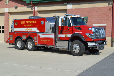 """Tanker 34 for West Friendship Volunteer Fire Department is this 2015 International 7600 4z4/UST with a 1250/3400.  UST number H09465.  The front gill announces """"Here Comes Your Water"""".  Placed into service in summer of 2016."""