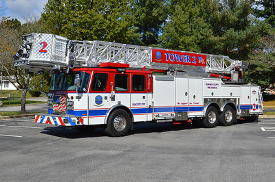 """Howard County's Tower 2 in Ellicott City was delivered in 2016 and painted to recognize and support our veterans and troops.  Tower 2 is a 2016 E-One Cyclone II Extreme Duty with a 95' tower.  E-One serial number 139835.  """"In Honor Of Our Veterans"""" and """"We Support Our Troops"""" adorn Tower 2."""