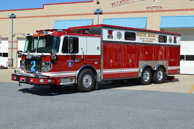 Photographed in late June of 2016 just prior to being placed into service is Rescue Squad 2, a 2015 Spartan Gladiator/2016 Custom Fire Apparatus.  My apologies for the reflections off of the squad body.  The rich red color and I suspect other factors made it very difficult to keep the reflections down to a minimum.