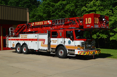 Howard County, Maryland Tower 10, from the Rivers Park Station.  A 2014 Pierce Velocity with a 100' and job number 27359.