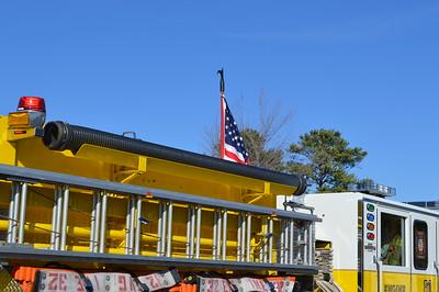 A unique flag pole on Bay District's Engine 32, a 2014 Pierce Arrow XT.