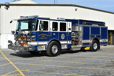 Upperco's new Engine 852 was photographed in November of 2017 prior to being placed into service.  The blue and white are the new colors for the Upperco volunteers.  Engine 852 is a 2017 Pierce Enforcer with a 1500/1000 and job number 30924.