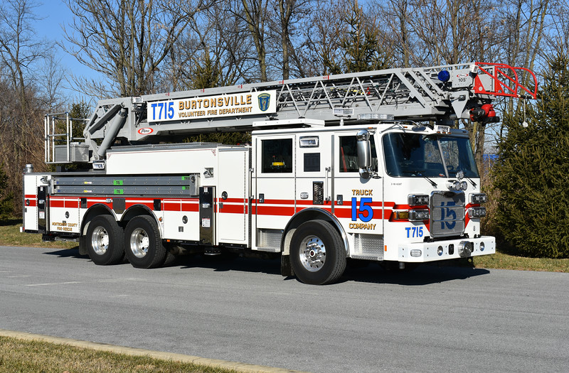 "Burtonsville, Maryland (Montgomery County) Truck 715 is this 2016 Pierce Arrow XT 105' rearmount with Pierce job number 29083.  A dedication on the truck reads ""Truck 715 dedicated to our charter members.  May we always continue your legacy of dedicated community service - July 10, 2016"""