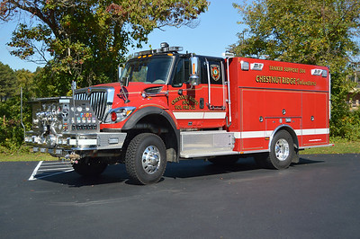 """Chestnut Ridge Fire Company - Baltimore County Station 50.  Tanker Support 504 is this 2012 International 4x4/KME, 1250/300, sn- 8660 that carries 1500' of 5"""" hose."""
