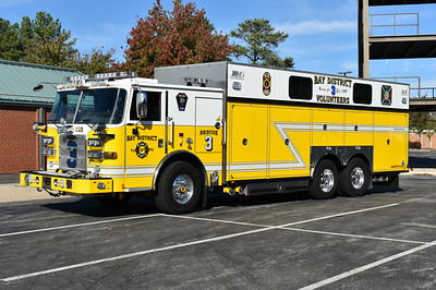 Rescue 3 from Bay District's Lexington Park Station is this 2014 Pierce Arrow XT 250/200 with job number 27658.