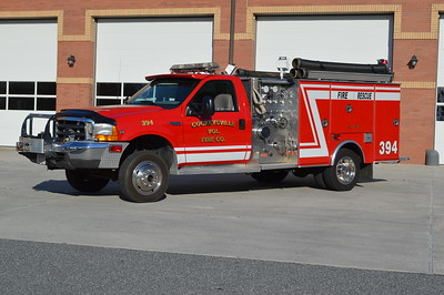 Tanker Support Unit 394 from Cockeysville, Maryland (Baltimore County) is this 1998 Ford F550 4x4 with a 1999 M&W body.  1000/200.  This truck was originally owned by the Rockaway Beach, MD fire company, also in Baltimore County.