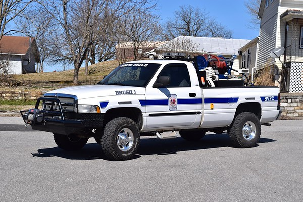 "Brush 1 is a 2000 Dodge Ram, 175/200.  ""White Mule"" is in homage to Sharpsburg's former brush truck, an ex-military pick-up."