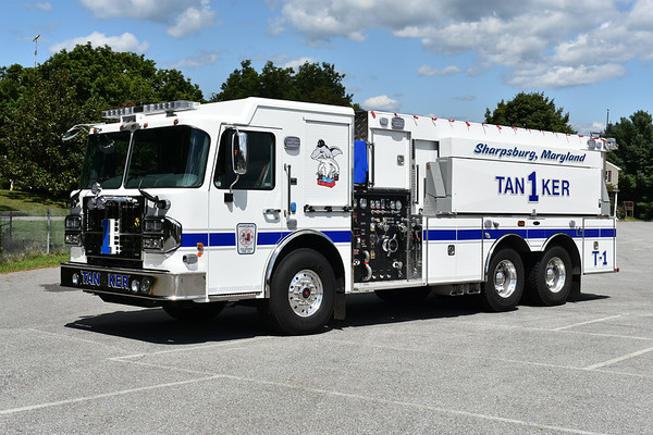 Sharpsburg, Maryland (Washington County) Tanker 1, an unusual 2018 Spartan Gladiator/2019 4-Guys equipped with a 1250/3000 and 4-Guys serial number F3155.  The new Tanker 1 is an addition to the Sharpsburg roster.