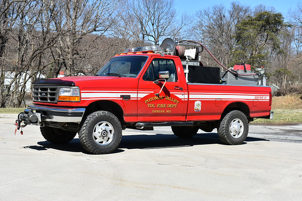 Potomac Valley VFD Brush 11, a 1995 Ford F350 4x4/CET skid with a 200/150.