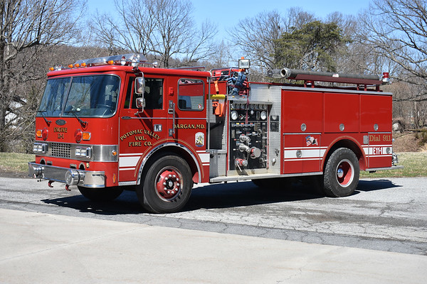 "Potomac Valley Engine 111, a 1986 Pierce Dash 1000/1000 with Pierce job number E3454.  Nicknamed ""War Wagon""."