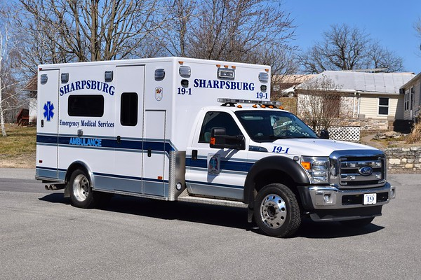 One of two similar ambulances at Sharpsburg is '19-1', a 2012 Ford F-450/PL Custom.