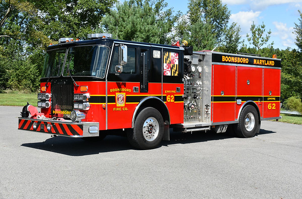 Boonsboro, Maryland in Washington County Engine 62 was received in 2019.  Engine 62 is a 1992 Simon-Duplex/Saulsbury/2019 Adkins Automotive.  1500/1250 with Saulsbury serial number 291064.  Engine 62 was originally delivered to Willow St. , PA (Lancaster County) where it ran as Engine 501.