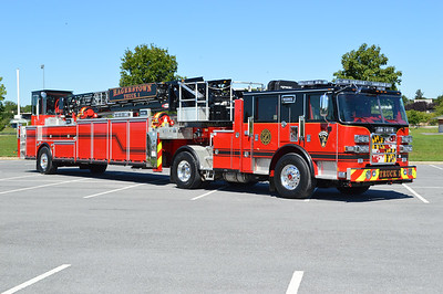 Truck 1 for Hagerstown, Maryland is this 2016 Pierce Arrow XT 100' tiller.  Pierce job number 28948.  Although Truck 1 would usually run from the Pioneer Hook & Ladder Company Station in downtown, the Pierce tiller is now operating from the quarters of Engine 3.  A second identical truck is on order for Truck 4.