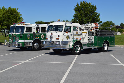 Independent Junior Fire Company in Hagerstown, Maryland - a 2003 KME Predator and a beautifully restored 1965 Mack C.  Photographed in August of 2016.