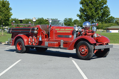 Hagerstown, Maryland - First Hose Company.  Beautifully restored is this 1946 Ahrens Fox HT with a 1000 gpm pump and a 100 gallon water tank.  Serial number 3459.
