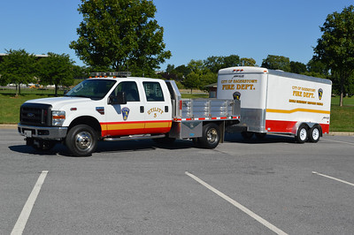 Hagerstown, Maryland Utility 3, with trailer.  U-3 is a 2008 Ford F350 with a Merritt body.  This truck use to have a Fout's Bros. body.  That truck was wrecked, and the department utilized a Merritt body for the 2008 Ford F350.