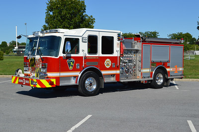 Hagerstown, Maryland Engine 1 is this 2013 KME Predator, equipped with a 1500/500 and GSO #9041.  Photographed August, 2016.