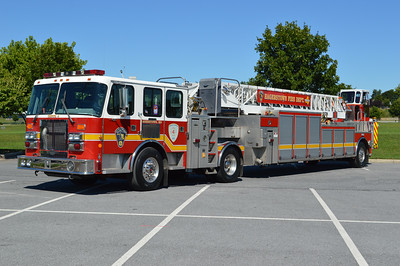 Truck 4 is one of two identical 1997 Simon-Duplex/Quality/Aerial Innovations 105' tillers.  Truck 4 carries serial number 84078-97 and operates from the Western Enterprise Fire Company station.  The second tiller runs as a reserve.  Purchased by York Township, PA, in May 2017.