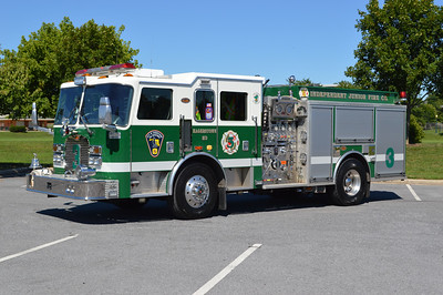 """Hagerstown, Maryland Engine 3, a 2003 KME Predator 1500/500 with serial number GSO 5567.  The large """"3"""" on the front cab lights up when the emergency lights are activated."""