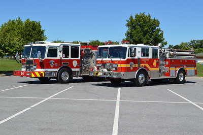 Hagerstown, Maryland Engine 4 (2008 KME) and Reserve Engine 4 (1991 KME) as photographed in August, 2016.