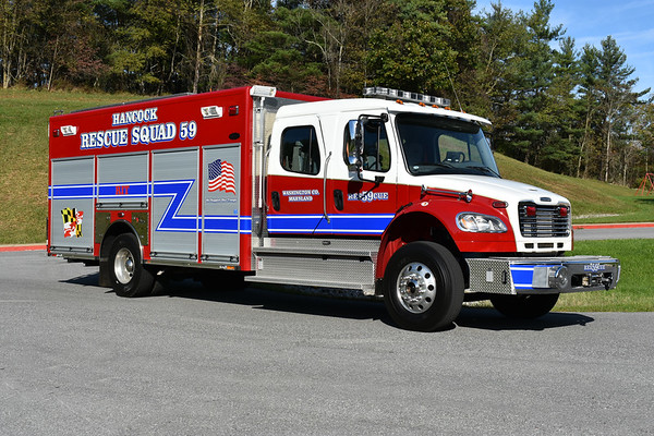 Rescue Squad 59 from the Hancock Volunteer Rescue Squad in Washington County, Maryland.  Delivered in 2017, it is a 2012 Freightliner M2/2013 Toyne.  It was previously a Toyne demonstrator.  The Rescue Squad is dedicated to Chief Stephen Barnhart of the Hancock VRS.