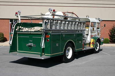 Rear view of the Mack engine.