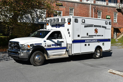 Hancock Rescue Squad in Washington County, Maryland - a 2015 Dodge Ram 4500/Road Rescue running as Ambulance 591.