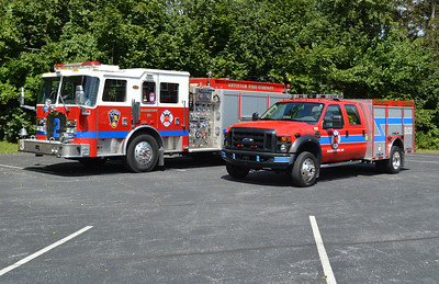 The Antietam Fire Company current apparatus (August, 2016) - a 2003 KME engine and a 2007 Ford F550/Plastisol Special Unit 32.
